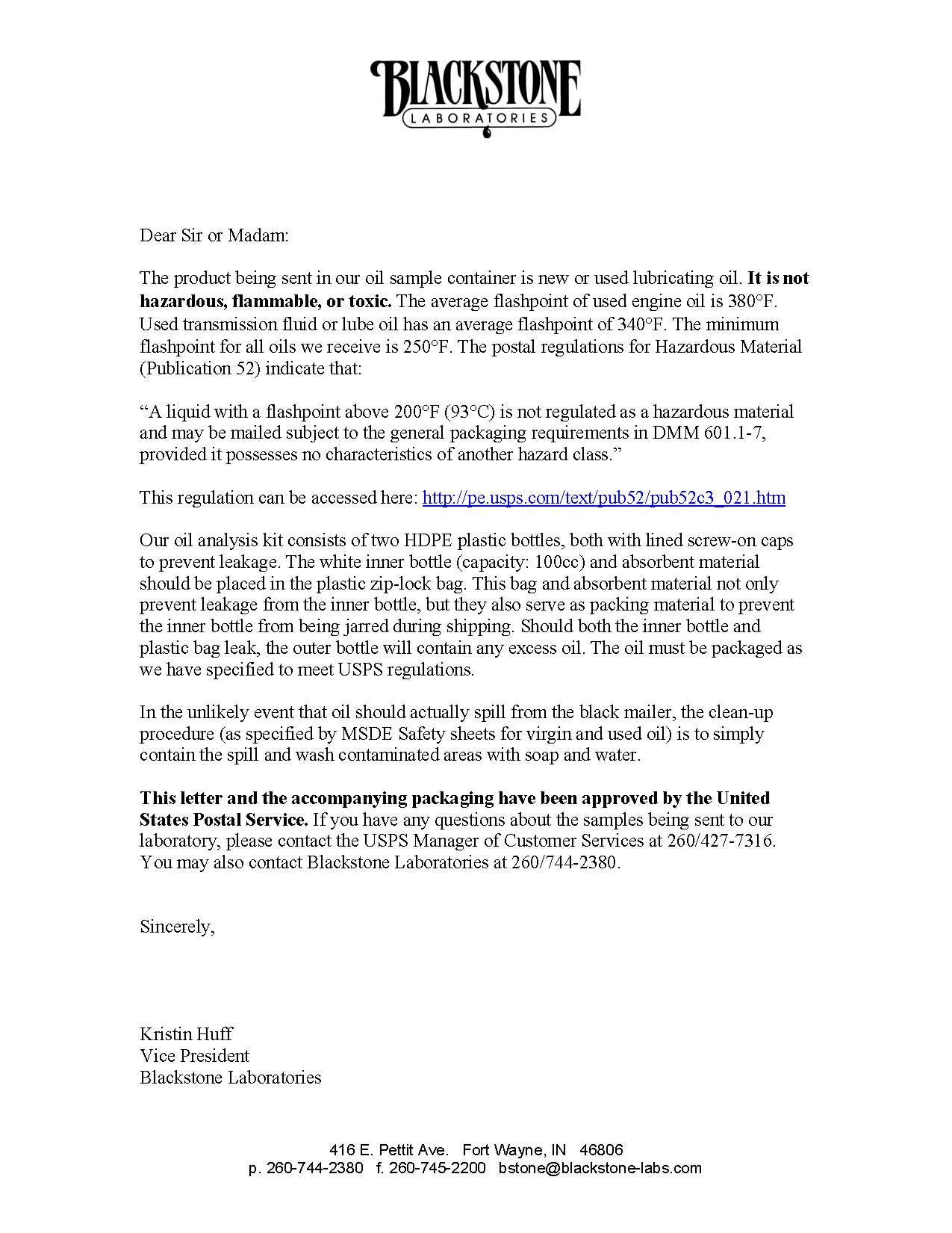 Postal Requirements | Blackstone Laboratories