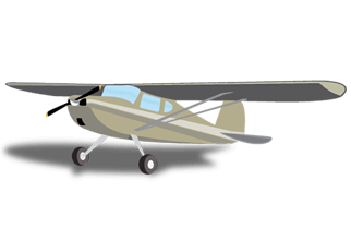 tan Cessna-type high-wing airplane