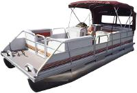 pontoon boat with red awning and red trim