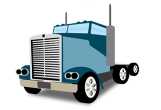 illustration of a blue semi truck without the trailer attached