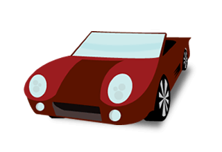illustration of a red convertible with the top down and a bluw windshield