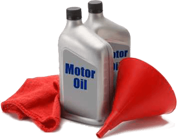 two gray quarts of motor oil with a red rag and red funnel next to them