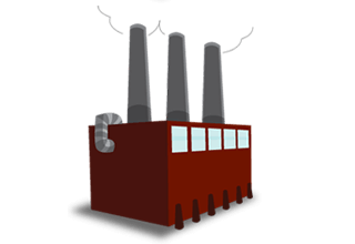 illustration of a red factory building with three gray smokestacks
