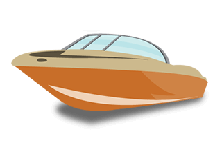 illustration of a brownish-orange boat with blue windshield