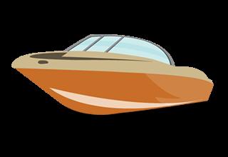illustration of a brownish-orange boat with blue windshield