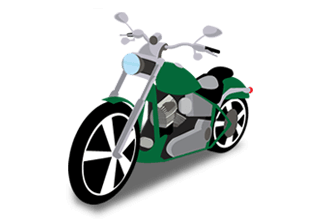 illustration of a green and silver motorcycle with blue headlight