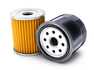 Yellow oil filter inner pleats and outer black shell