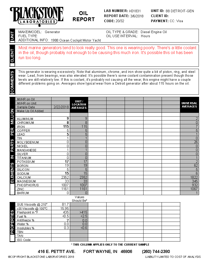 Oil analysis report from a marine generator that is wearing poorly due to a problem at steel parts