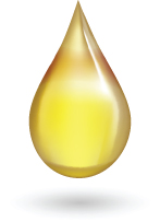 golden drop of oil suspended in the air with a round gray shadow underneath it