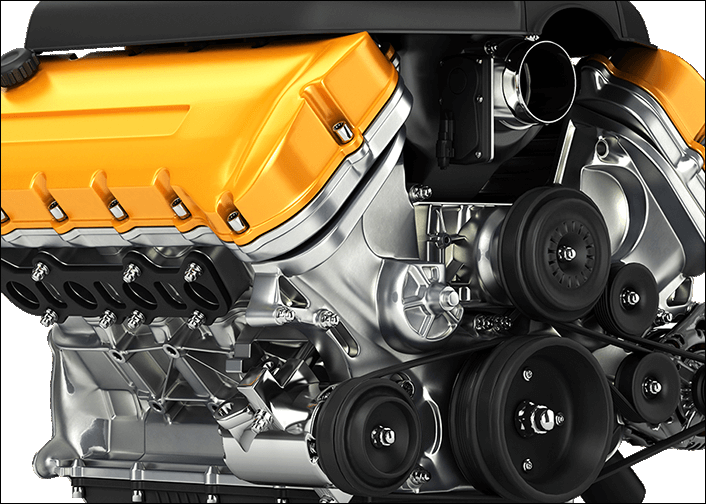 close-up of an aluminum engine block with yellow valve covers and black trim