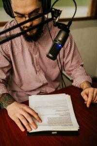 joe recording the podcast