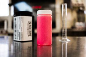 Pink diesel fuel sample