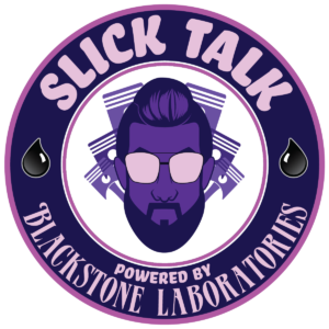 slick talk logo in purple and white