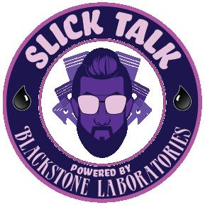 Slick Talk logo in purple and white
